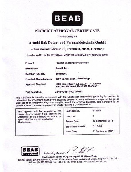 Arnold Rak сертификат 2